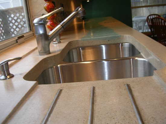Drainboard, Stainless Steel Concrete Countertops Solid Solutions Studios Fresno, CA