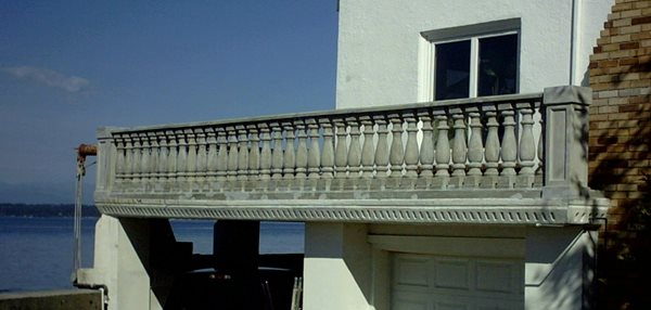 Balcony Railing, Grey Architectural Details Absolute ConcreteWorks Port Townsend, WA