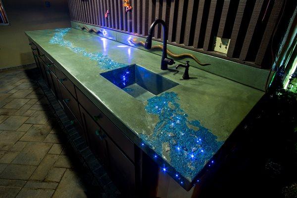 Concrete Countertop, Leed Lights Artistic Concrete Tom Ralston Concrete Santa Cruz, CA