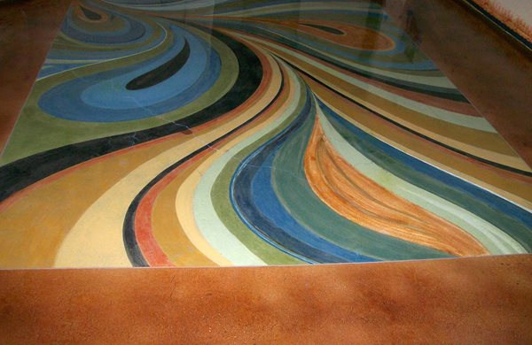 Dyed, Concrete, Basement, Floor Artistic Concrete Concrete Restoration & Engraving Blythewood, SC