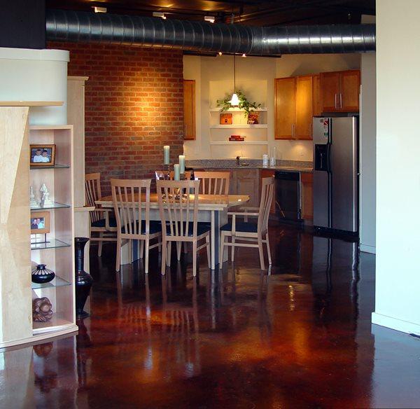 Kitchen, Deep Brown Brown Floors Decorative Concrete Institute Temple, GA
