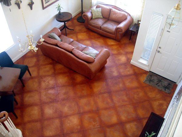 Leather, Terra Cotta Brown Floors Concrete911 Roseville, CA