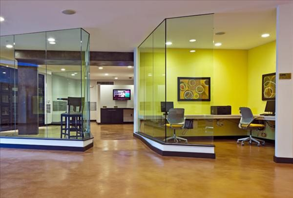 Award Winning Stained Concrete Office Floor Commercial Floors Maverick Specialty Contracting Seattle, WA