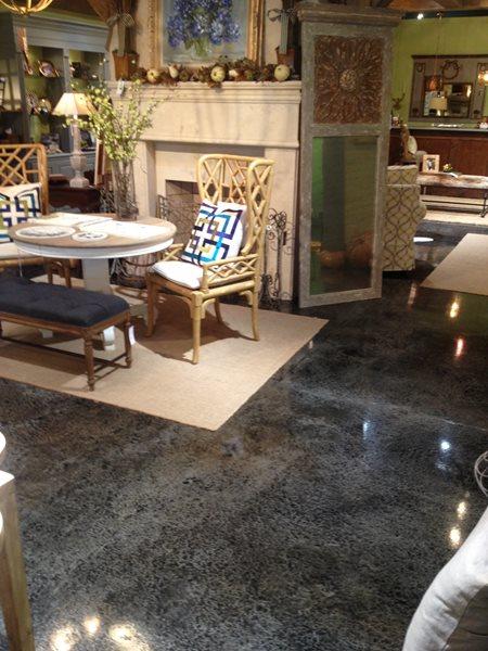 Houseware Store Floor, Colored Concrete Commercial Floors Carve Surfaceworks Carolina Beach, NC