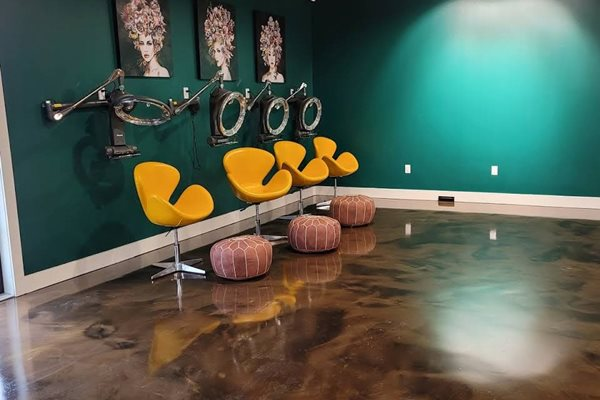 Salon Flooring, Brown Epoxy Floor Commercial Floors Unique Surface Designs LLC Bonham, TX