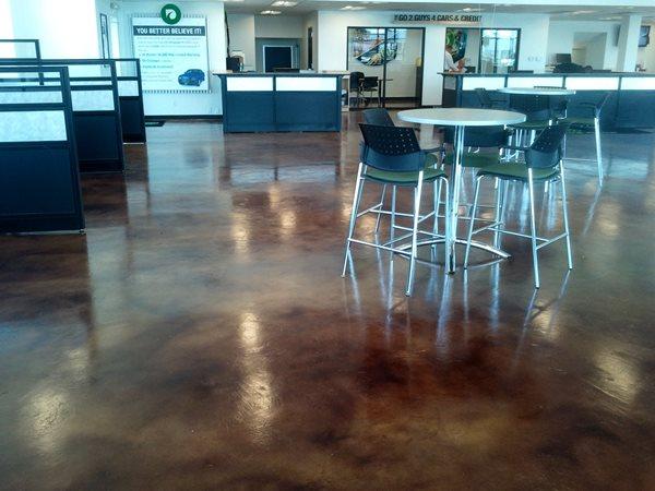 Stained Car Dealership Floor Commercial Floors BDC Concrete Polishing Grand Prairie, TX