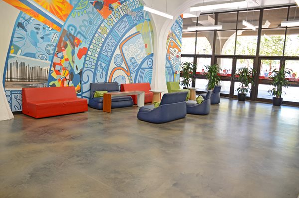 Stained Flooring, Sdsu Library Commercial Floors Life Deck Coating Installations San Diego, CA