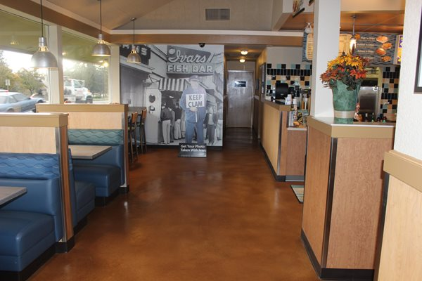 Stained Restaurant Floor Commercial Floors NW Coatings & Concrete/NW Coatings & Contracting Lake Stevens, WA