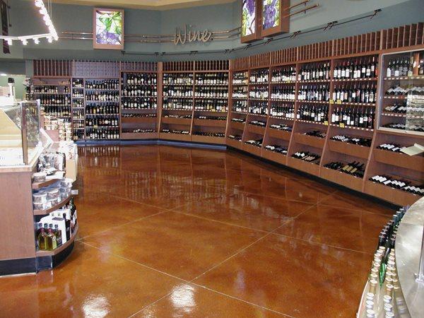 Whole Foods Stained Concrete Floor, Diamond Pattern Commercial Floors LA Concrete Works West Hills, CA