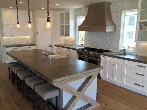 Big Kitchen Island, French Country Concrete Countertops Art Of Concrete Encino, CA