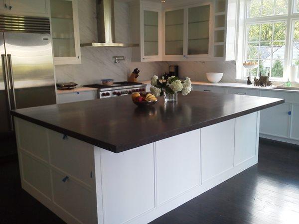 Black Kitchen Island Concrete Countertops Concrete Encounter, LLC Fairfield, CT