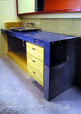 Blue, Bathroom Concrete Countertops Cheng Design Products Inc. Berkeley, CA
