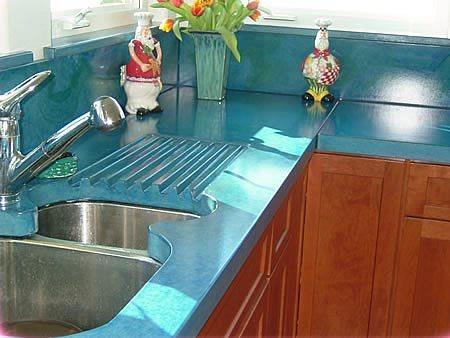 Blue, Drainboard Concrete Countertops Absolute ConcreteWorks Port Townsend, WA