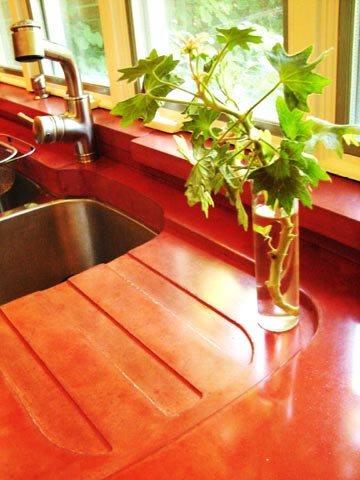 Brick Red Concrete Countertops M Concrete Studios LLC Dayton, OH