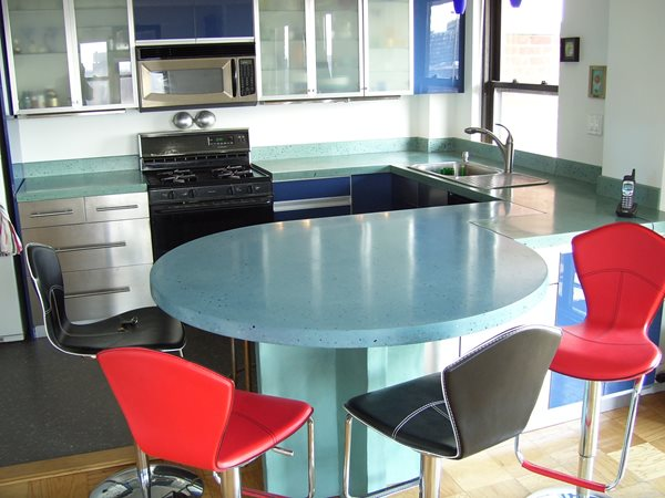 Bright, Round Bar Concrete Countertops Oso Industries Brooklyn, NY
