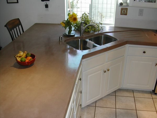 Brown, Corner Concrete Countertops Solid Solutions Studios Fresno, CA