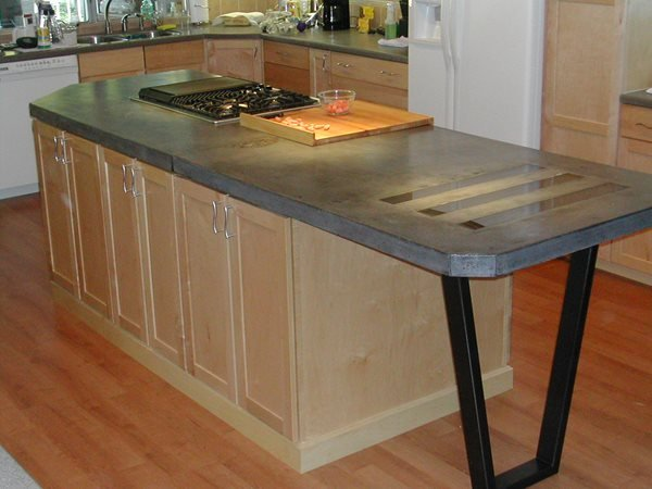 Charcoal Grey, Inlaid Concrete Countertops Solid Solutions Studios Fresno, CA