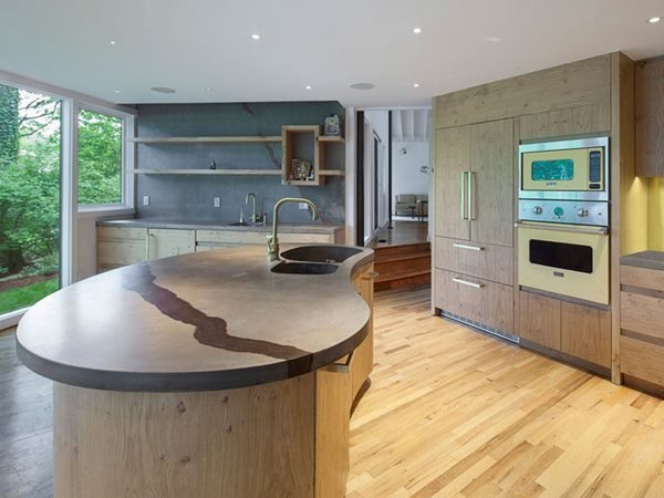 Curved Kitchen Island Concrete Countertops Surface Scapes Northport, NY