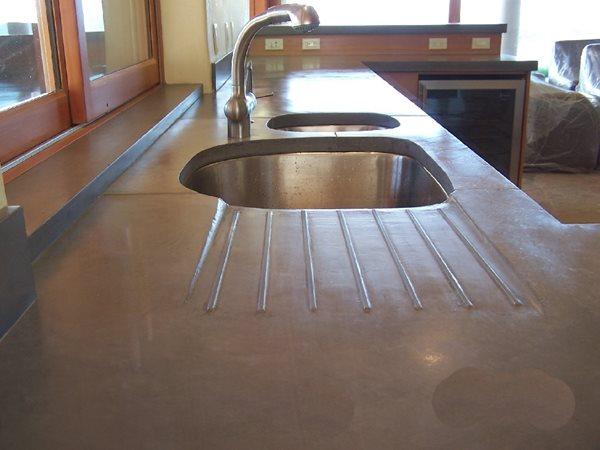 Dark Grey, Drain Board Concrete Countertops Concrete Interiors Martinez, CA