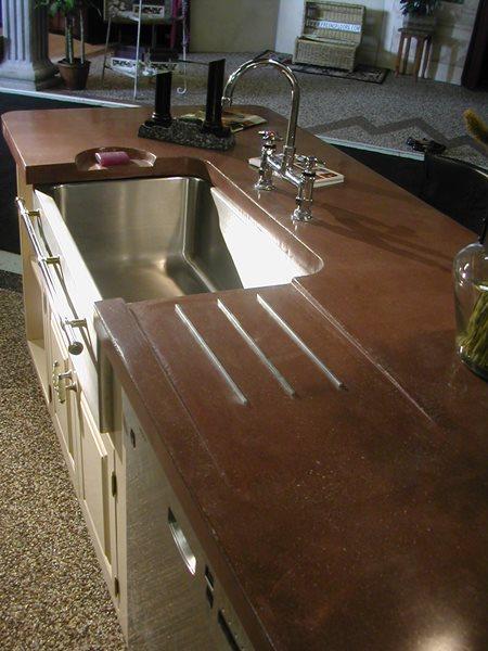 Drainboard, Soap Dish Concrete Countertops Solid Solutions Studios Fresno, CA