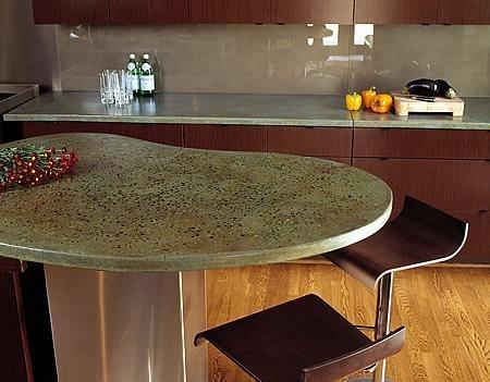 Green, Kidney Bean, Bar Concrete Countertops Bradley Hughes Atlanta, GA