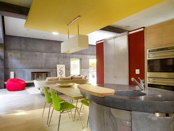 Island, Counter, Oblong, Sink, Gray Concrete Countertops Cheng Design Berkeley, CA