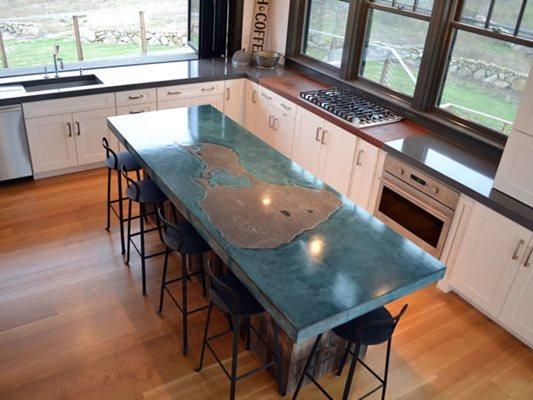 Kitchen, Kitchen Island, Blue, Chairs Concrete Countertops Livingstone Concrete Studios Lincoln, RI