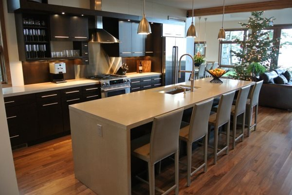 Modern Kitchen Island Counter Concrete Countertops Hard Topix Jenison, MI