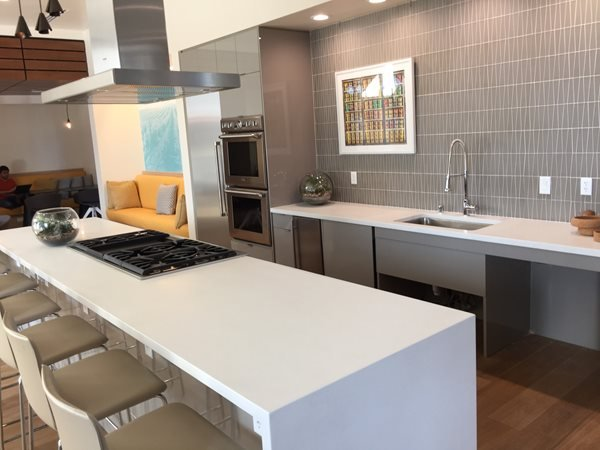 Modern White Kitchen, Waterfall Island Concrete Countertops Flying Turtle Cast Concrete Modesto, CA