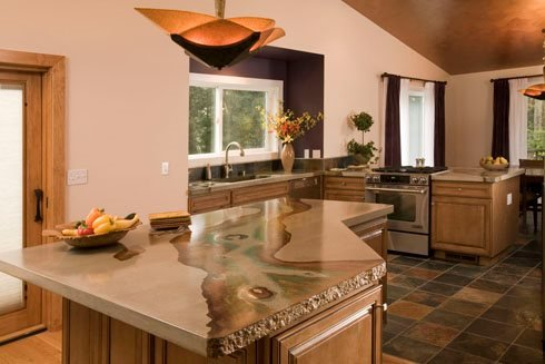 Natural, Stained Concrete Countertops Absolute ConcreteWorks Port Townsend, WA