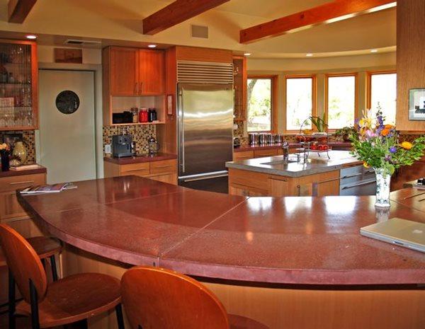 Polished, Terra Cotta, Bartop Concrete Countertops Flowstone Concrete Studio Sacramento, CA