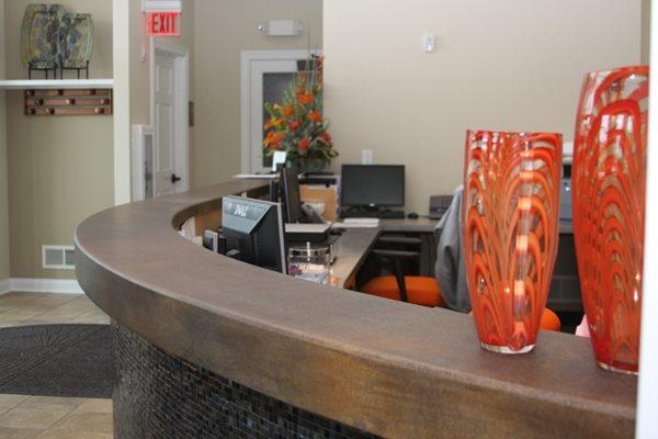 Reception Desk, Office, Concrete Concrete Countertops Custom Crete Werks LLC Racine, WI