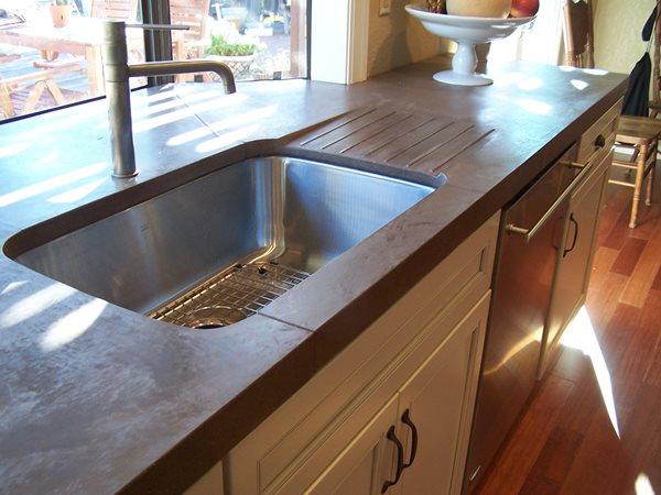 Rustic, Drainboard Concrete Countertops Concrete Interiors Martinez, CA