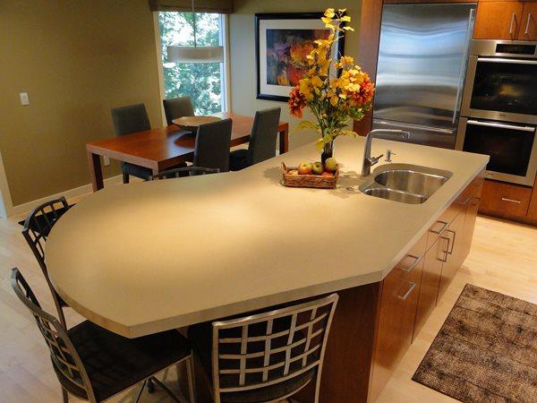 Seamless Island Counter Concrete Countertops Hard Topix Jenison, MI