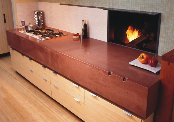 Thick, Fireplace Concrete Countertops Cheng Design Products Inc. Berkeley, CA