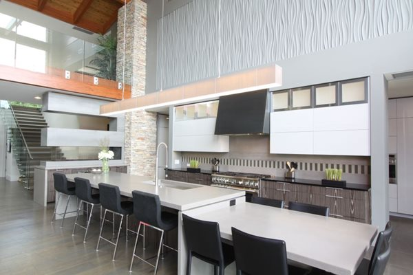 Two Level, Kitchen Island, White Concrete Concrete Countertops Hard Topix Jenison, MI