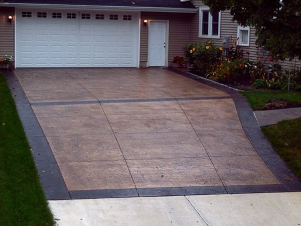 Brown Concrete, Stained, Border Concrete Driveways A & P Concrete Contractor Hot Springs, AR