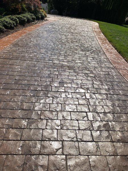 Color Correction, Stamped Driveway Concrete Driveways A1A Concrete Design Norfolk, VA