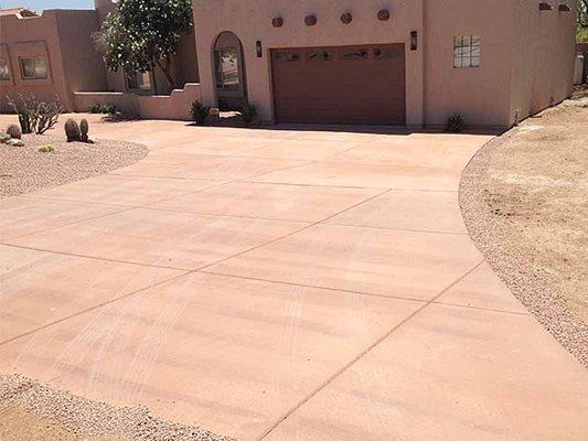 Colored, Adobe, Driveway Concrete Driveways Saturn Concrete Construction Phoenix, AZ