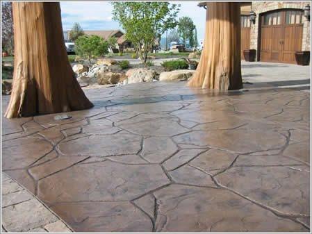 Flagstone Stamp, Faux Flagstone, Brown Concrete Driveways Riverstone Stamped Concrete Spokane, Washington