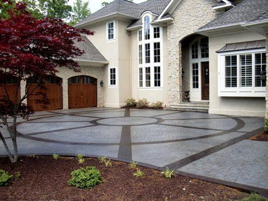 Garage, Stained, Stamped, Design, Home Concrete Driveways Greystone Masonry Inc Stafford, VA