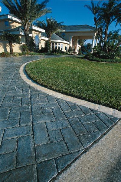 Herring Bone, Dark Grey Concrete Driveways Superstone Inc Opa-Locka, FL