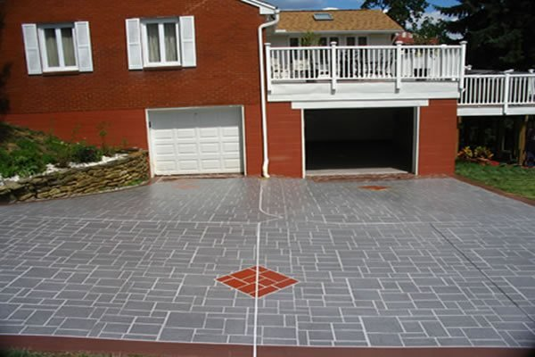 Red Diamond, Stencil Concrete Driveways Geo Cast Design Pittsburgh, PA