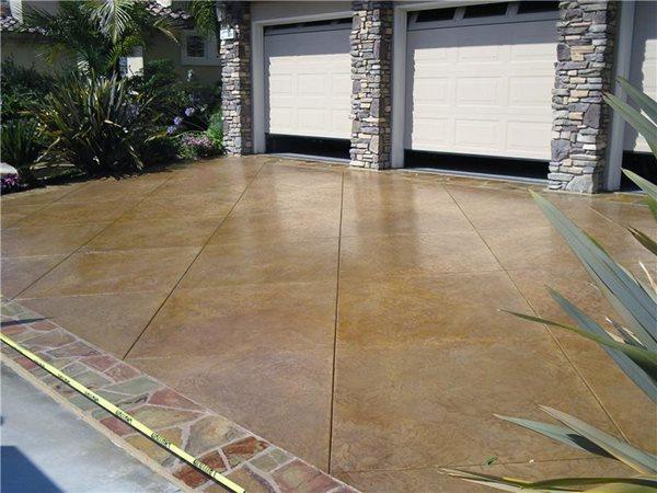 Scored Driveway, Stained Concrete Concrete Driveways Epoxy Floored McKinney, TX