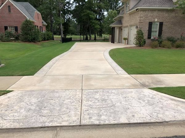 Stamped Apron, Colored Concrete Concrete Driveways PennyEarned, LLC Montgomery, AL
