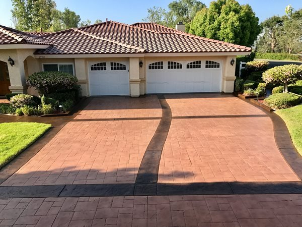 Stamped Driveway, Stained Driveway Concrete Driveways KB Concrete Staining Norco, CA