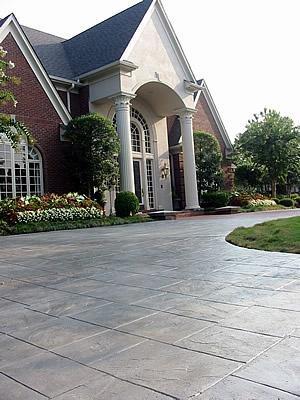 Stamped, Grey Concrete Driveways Artistic Hardscapes Mason, TN