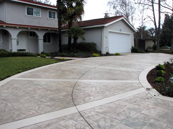 Stamped Stained Driveway Concrete Driveways Alexander and Sons Inc San Jose, CA