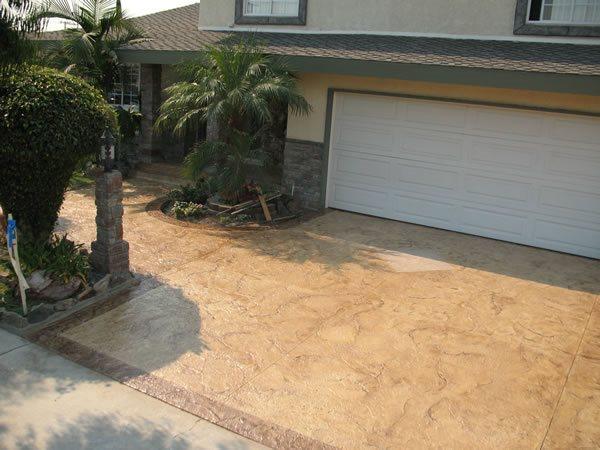 Texture Stamped Driveway Concrete Driveways Beach Cities Concrete Design Inc Rancho Palos Verdes, CA