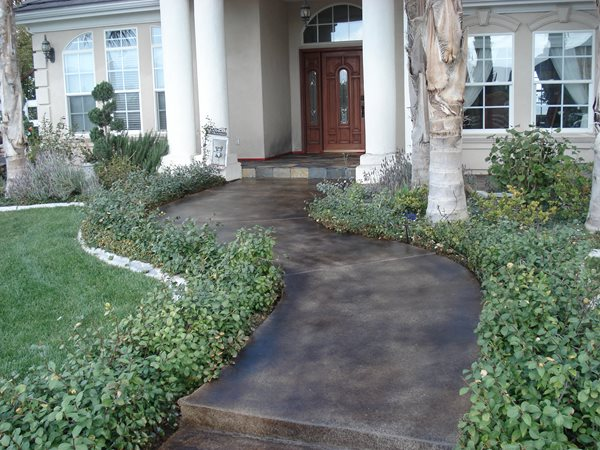 Colored Concrete Entry, Brown Stained Concrete Walkway Concrete Entryways Woolley's Concrete Resurfacing Murrieta, CA